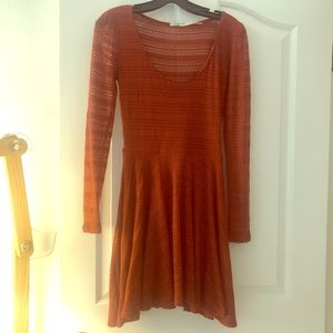 Rust Orange Long Sleeve Lace Dress